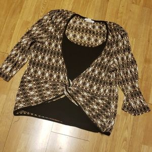 Accordion knit faux layered plus top 2X